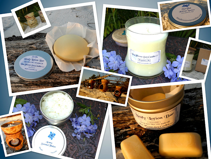 Blue Flower 100% Natural Soy Candles